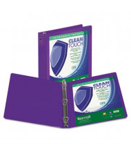 "Samsill 2"" Capacity 8-1/2"" x 11"" Round Ring Clean Touch View Binder, Purple"