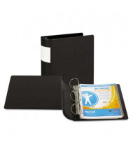"Samsill 4"" Capacity 8-1/2"" x 11"" Straight Ring with Label Holder Non-View Binder, Black"