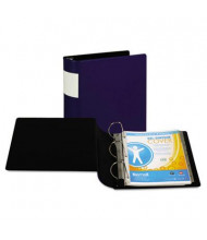 "Samsill 4"" Capacity 8-1/2"" x 11"" Straight Ring with Label Holder Non-View Binder, Dark Blue"