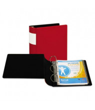 "Samsill 4"" Capacity 8-1/2"" x 11"" Straight Ring with Label Holder Non-View Binder, Red"