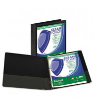 "Samsill 1"" Capacity 8-1/2"" x 11"" Locking Round Ring Clean Touch View Binder, Black"
