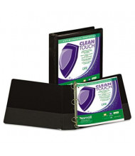 "Samsill 1-1/2"" Capacity 8-1/2"" x 11"" Locking Round Ring Clean Touch View Binder, Black"