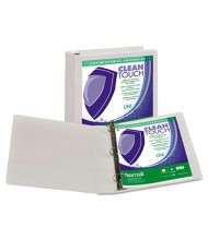 "Samsill 1-1/2"" Capacity 8-1/2"" x 11"" Locking Round Ring Clean Touch View Binder, White"