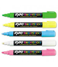 Expo Bright Sticks Wet-Erase Fluorescent Marker, Bullet Tip, Assorted, 5-Pack
