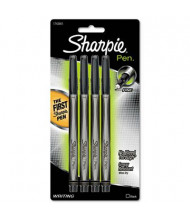 Sharpie Fine Stick Plastic Point Pens, Black, 4-Pack