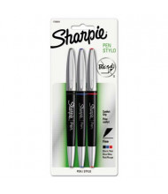 Sharpie Grip Fine Stick Permanent Porous Point Pens, Assorted, 3-Pack