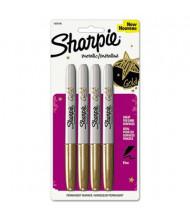 Sharpie Metallic Permanent Marker, Bullet Tip, Gold, 4-Pack