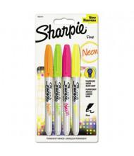 Sharpie Neon Permanent Marker, Fine Tip, Assorted, 4-Pack