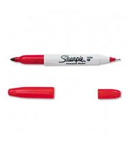 Sharpie Twin-Tip Permanent Marker, Fine/Ultra Fine Point, Red
