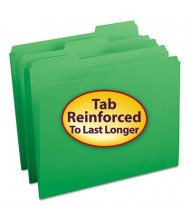 Smead Reinforced 1/3 Cut Top Tab Letter File Folder, Green, 100/Box