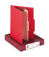 Smead 4-Section Letter 14-Point Stock Classification Folders, Red, 10/Box