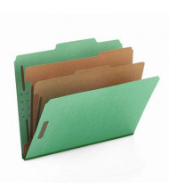 Smead 6-Section Letter 23-Point Pressboard Top Tab Classification Folders, Green, 10/Box
