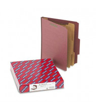 Smead 6-Section Letter 25-Point Pressboard Top Tab Classification Folders, Red, 10/Box