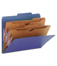 Smead 6-Section Letter 23-Point Pressboard 2-Pocket Classification Folders, Dark Blue, 10/Box