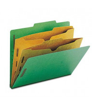 Smead 6-Section Letter 23-Point Pressboard 2-Pocket Classification Folders, Green, 10/Box