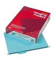 Smead Letter 1/5 Tab Hanging File Folders, Aqua, 25/Box
