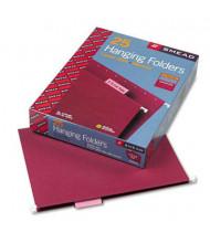 Smead Letter 1/5 Tab Hanging File Folders, Maroon, 25/Box