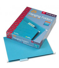 Smead Letter 1/5 Tab Hanging File Folders, Teal, 25/Box
