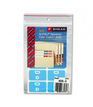 "Smead 1"" x 1-3/5"" Letter ""D"" Color-Coded Second Letter Labels, Light Blue, 100/Pack"