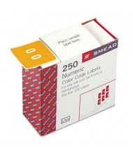 """Smead 1-1/2"""" x 1-1/2"""" Number """"0"""" Single Digit End Tab Labels, White-on-Yellow, 250/Roll"""