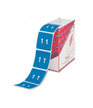 """Smead 1-1/2"""" x 1-1/2"""" Number """"1"""" Single Digit End Tab Labels, White-on-Light Blue, 250/Roll"""