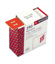 """Smead 1-1/2"""" x 1-1/2"""" Number """"2"""" Single Digit End Tab Labels, White-on-Pink, 250/Roll"""