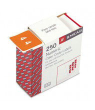 """Smead 1-1/2"""" x 1-1/2"""" Number """"4"""" Single Digit End Tab Labels, White-on-Orange, 250/Roll"""