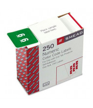 """Smead 1-1/2"""" x 1-1/2"""" Number """"6"""" Single Digit End Tab Labels, White-on-Green, 250/Roll"""