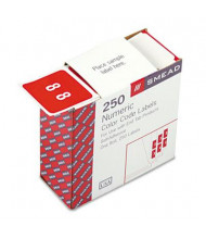 """Smead 1-1/2"""" x 1-1/2"""" Number """"8"""" Single Digit End Tab Labels, White-on-Red, 250/Roll"""