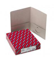 "Smead 100-Sheet 8-1/2"" x 11"" Embossed Leather Grain Heavy Two-Pocket Portfolios, Gray, 25/Box"