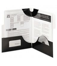 """Smead 100-Sheet 8-1/2"""" x 11"""" SuperTab Two-Pocket Portfolios, Black, 5/Pack"""