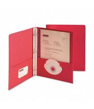 "Smead 1/2"" Capacity 8-1/2"" x 11"" Tang Clip Two-Pocket Portfolio, Red, 25/Box"