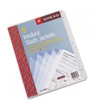 "Smead 8-1/2"" x 11"" Slash Poly Pocket Jackets, Clear, 5/Pack"