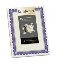 "Southworth 8-1/2"" x 11"", 24lb, 15-Sheets, Ivory Foil-Enhanced Parchment Certificates"