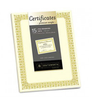 "Southworth 8-1/2"" x 11"", 66lb, 15-Sheets, Ivory Fleur Gold Foil Border Premium Certificates"