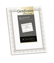 "Southworth 8-1/2"" x 11"", 66lb, 15-Sheets, Fleur Silver Foil Border Premium Certificates"