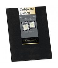 "Southworth 9-1/2"" x 12"" 10-Pack Linen Certificate Holder, Black"