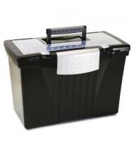"Storex 10-1/2"" D Letter & Legal Portable File Storage Box, Black"