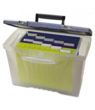 """Storex 10-1/2"""" D Letter & Legal Portable File Storage Box, Clear"""