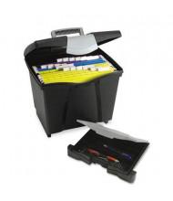 """Storex 11-1/4"""" D Letter Portable File Storage Box w/ Drawer, Black"""