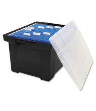 "Storex 19"" D Letter & Legal Plastic File Tote Storage Box w/ Lid, Black"