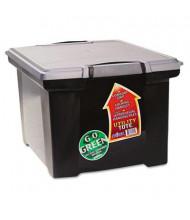 "Storex 14-1/4"" D Letter & Legal Portable File Storage Box w/ Locking Handles, Black"