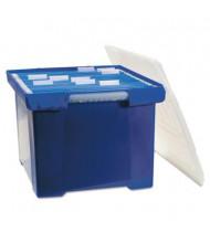 """Storex 15"""" D Letter & Legal Plastic File Tote Storage Box w/ Lid, Blue"""