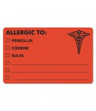 """Tabbies 4"""" x 2-1/2"""" Drug Allergy Medical Warning Labels, Orange, 100/Roll"""