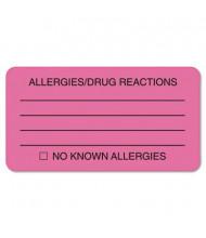 """Tabbies 3-1/4"""" x 1-3/4"""" Drug Allergy Medical Warning Labels, Pink, 250/Roll"""