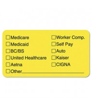 "Tabbies 3-1/4"" x 1-3/4"" Insurance Labels, Yellow, 250/Roll"