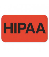 "Tabbies 1-1/2"" x 7/8"" ""HIPAA"" Medical Labels, Orange, 250/Roll"