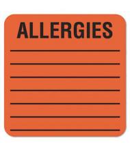"Tabbies 2"" x 2"" Allergy Medical Warning Labels, Orange, 500/Roll"