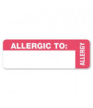 "Tabbies 3"" x 1"" Allergy Medical Warning Labels, White, 500/Roll"
