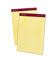 "Ampad 8-1/2"" X 11-3/4"" 50-Sheet 12-Pack Legal Rule Gold Fibre 16lb Pads, Canary Paper"